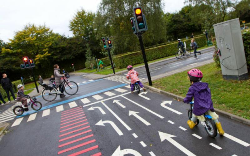 Traffic playground bikes in copenhagen