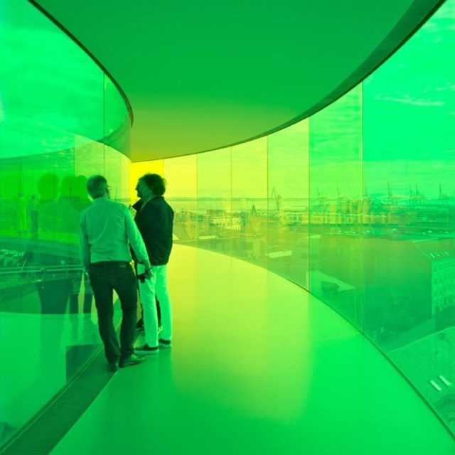 YourRainbowPanorama by olafureliasson on the roof of ARoS in Aarhushellip