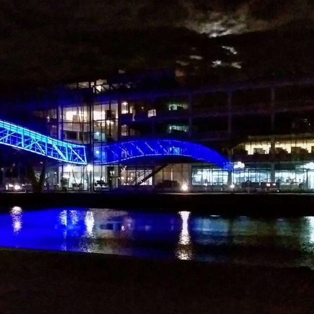 Late visit in sydhavnen  Sydhavn aalborguniversitetkbenhavn bridge mirror mooncloudshellip