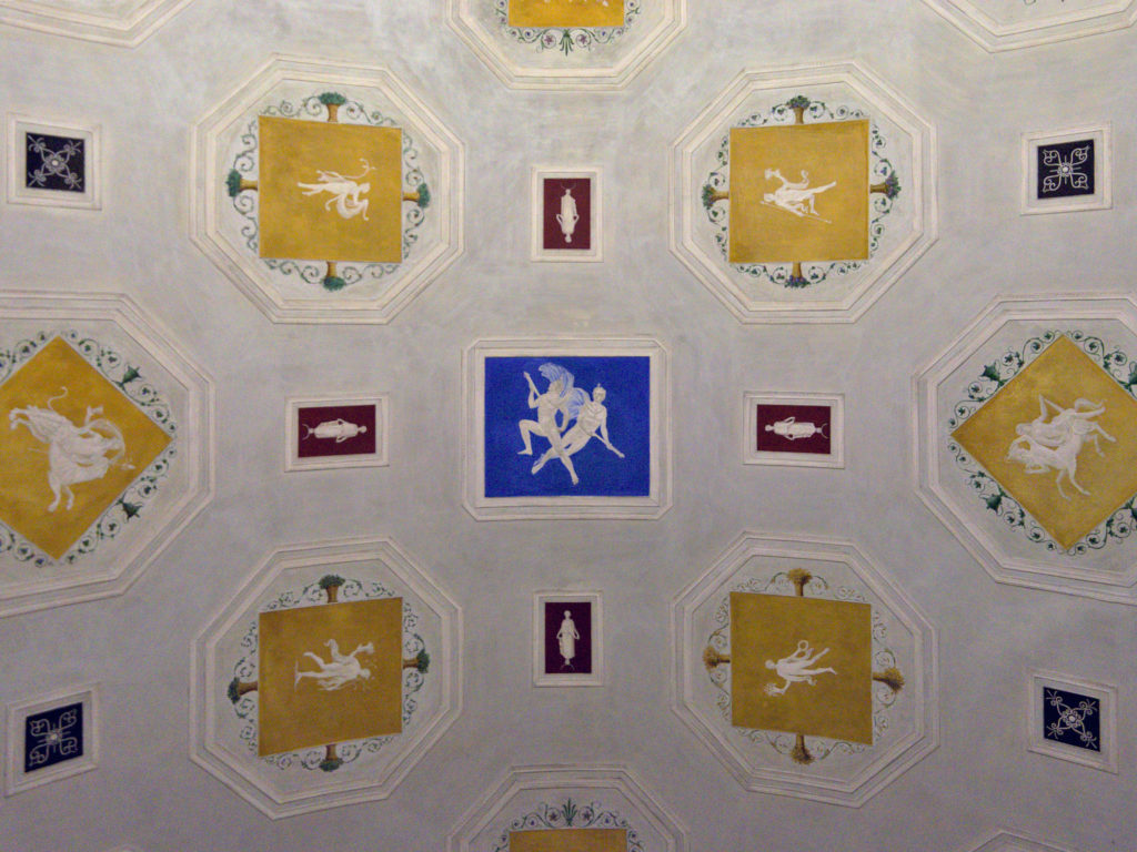 Painted barrel vault ceilings at the Thorvaldsen Museum by Bindesbøll